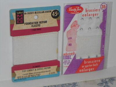 2 Vtg. Foundation Repair Elastic for Girdles & Brasier Enlarger on Original Card
