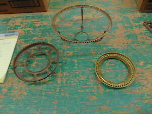 3 RARE BRASS SHADE HOLDER RINGS OLD