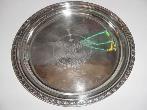 SS UNITED STATES LINES  Large Silver Tray w/Manhattan Pattern /  Excellent Cond.