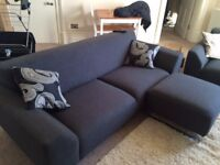 LARGE SOFA WITH SEPARATE SEAT & POUF - LIKE BRAND NEW 6 MONTHS OLD