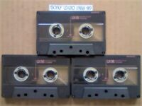 A2Z 3 RARE SONY UX90 MICROFINE UNIAXIAL CHROME GUARANTEED CASSETTE TAPES 1988-89 W/ CCL's & FREE P&P