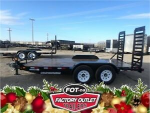 7 X 16 EQUIPMENT TRAILER - 14,000 LB. GVWR - PULL OUT RAMPS!