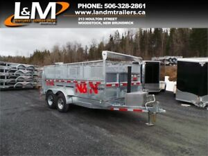 "NEW 2019 N&N GALVANIZED 82""x14' DUMP TRAILER W/MESH EXTENSIONS"