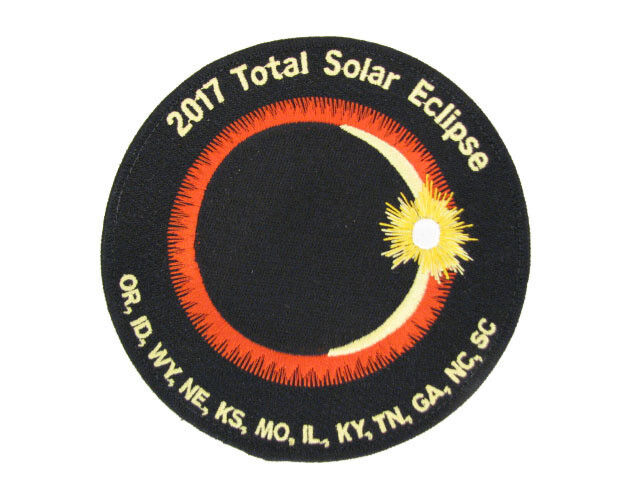 """2017 Total Solar Eclipse 12 State Totality Sun Moon Space 4"""" Patch with Sticker"""