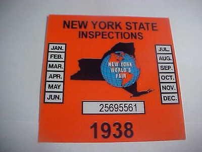 new york 1938 inspection sticker windshild (worlds fair)