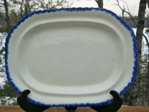ANTIQUE FLOW BLUE PLATTER POUNTNEY AND ALLIES BRISTOL POTTERY c1816 to 1835 RARE