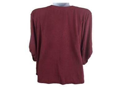 Women's ADRIANNA PAPELL Antique brick Red Roll Tab Sleeve T.Shirt Sz XXL V-Neck 1