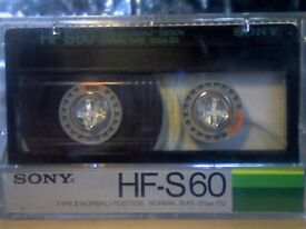 VARIOUS VINTAGE SONY HF-S 60 MICROFINE CRYSTAL GAMMA PREMIUM NORMAL CASSETTE TAPES.