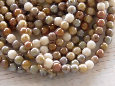 50 - 4mm CZECH GLASS OPAQUE LUSTER MIX EARTHY COLORS SMOOTH ROUND DRUK BEADS