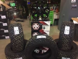 """Jeep 18"""" Mayhem Chaos & Fuel Gripper MT Package with spare"""
