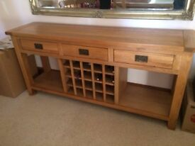 Cotswold Montegue Sideboard with 20 space wine rack and 3 drawers in solid light oak