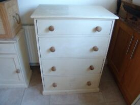 Cream Painted Antique Oak Chest of 4 Drawers - Can Deliver