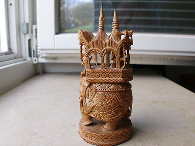 Indien - Elefant mit Maharadscha u.Elefantenführer - Holz - von Hand geschnitzt-