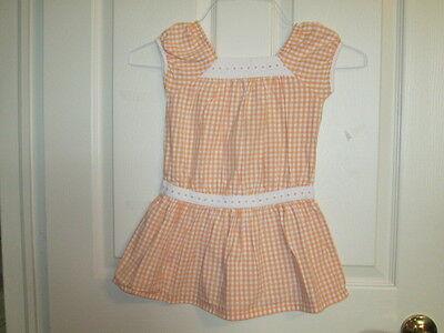 Gymboree girls 4 orange and white dress flowered waist