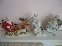 2 large father Christmas reindeer and sleigh mantle ornaments - Southbourne