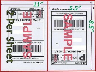 100 Shipping Labels Buy TWO get ONE FREE Blank Shipping Labels-2 Per Sheet -