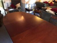 Oval reproduction mahogany veneer dining table. Seats 6.