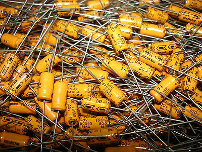 25pack 1uf 100v 85c Siemens Axial Orange Jacket Electrolytic Capacitors New