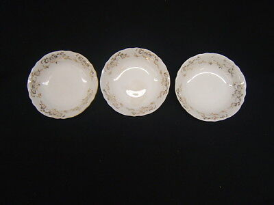 (Lot of 3 Vintage Homer Laughlin Republic White w/ Gold Trim Fruit Bowls GC )