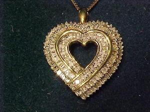 "3165-14k Yellow Gold Box link necklace-18""-1.00 ct DIA HEART(by gauge)set in WHITE & YELLOW GOLD-Ship in Canada ONLY"