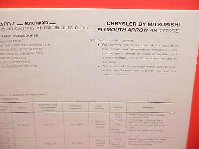 1978 PLYMOUTH ARROW AM-FM RADIO SERVICE SHOP MANUAL MODEL AR-1770CE ()