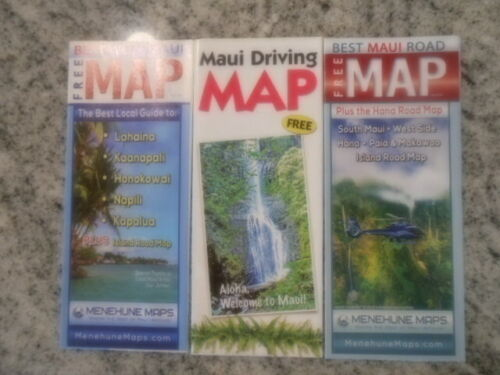 Lot of 3 Maui Driving Maps       In color    FREE shipping