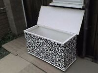 Large Wooden Storage Box with Roller Wheels