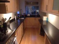Solid granite kitchen work tops (x4) + splashbacks & others - Black with silver sparkle