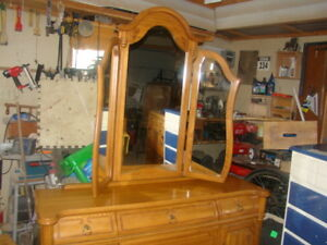 Oak dresser with trifold mirror and night stand