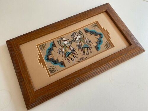 """Navajo Sand Painting Native American Male & Female Framed and Signed 14"""" x 8"""""""
