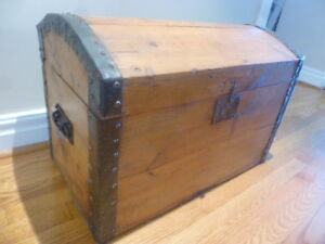 ANTIQUE PINE AND CAST IRON DOME TOP TRUNK