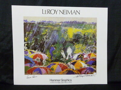 Arnold Palmer & Leroy Neiman Signed Arnie In the Rain Masters Golf Lithograph
