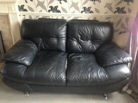 2 seater and 3 seater black leather look sofa