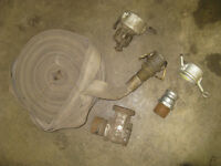 Antique fire hose and couplings Rat Rod