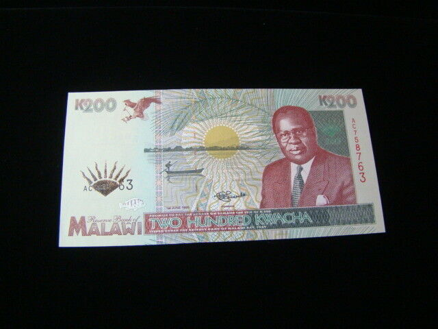 Malawi 1995 200 Kwacha Banknote Gem Uncirculated Pick #35