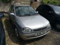 2000 Vauxhall Corsa 1 litre, starts and drives well, MOT until 6th August, very low mileage of 44,00