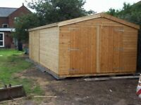 NEW SHED/WOODEN TOP QUALITY TIMBER GARAGE T&G CLADDED ERECTED FOR FREE
