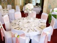 White wedding chair covers