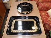 Black Laquered Trays 2 for Kitchen / Dining Room