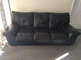 3 Seater Brown Leather Sofa FREE