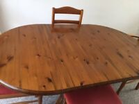 Beautiful Ducal Solid Wood Extending Dining Table and Four Upholstered Chairs Excellent Condition