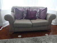 Two 2 Seater Leather Sofas from Sofa by Design - mushroom / stone colour