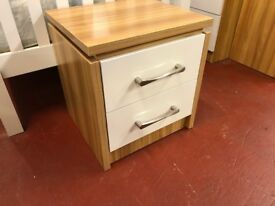 New Conrad white gloss 2 drawer bedside £49