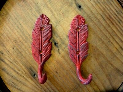"""2 RED FEATHER DESIGN WALL HOOKS 5.5"""" RUSTIC VINTAGE CAST IRON metal coat key hat"""