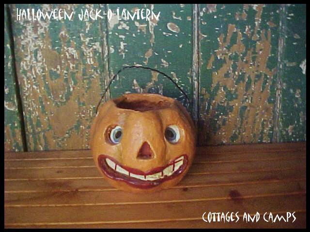 HALLOWEEN Orange JACK-O-LANTERN Pumpkin JOL VTG Paper Mache Style paper Insert