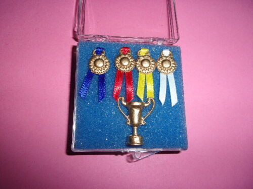 HANDCRAFTED  TROPHY AND RIBBONS  -  DOLL HOUSE MINIATURE