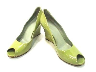 Auth GUCCI LightGreen Patent Leather Heels #38 (US#7.5)