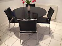 Beautiful Heals Polished Black Granite Kitchen table and 4 chairs
