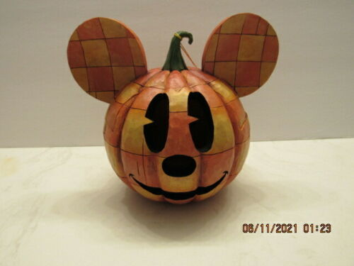 """JIM SHORE DISNEY TRADITIONS 2008 """"HAPPY HALLOWEEN"""" MICKEY MOUSE PUMPKIN LIGHTED"""