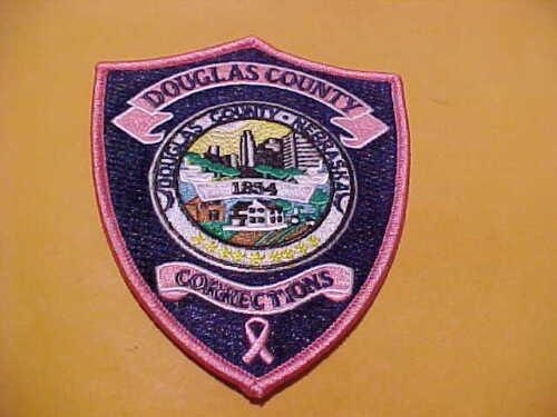 DOUGLAS COUNTY NEBRASKA COR. BREAST CANCER POLICE PATCH SHOULDER SIZE NEW PINK
